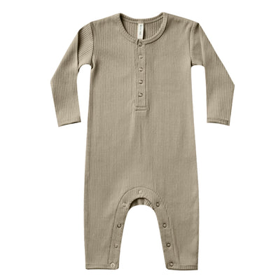 Quincy Mae - Organic Baby Ribbed Jumpsuit in Olive