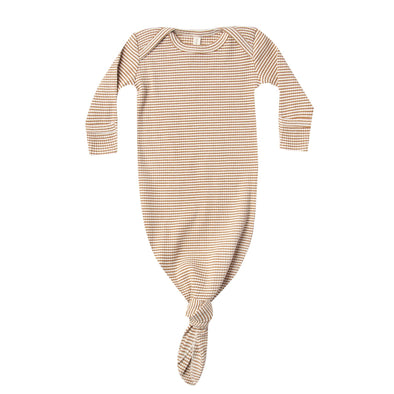 Quincy Mae ribbed knotted gown in walnut stripe