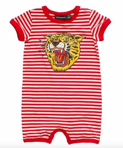 Rock Your Baby Tiger Stripes romper red stripes