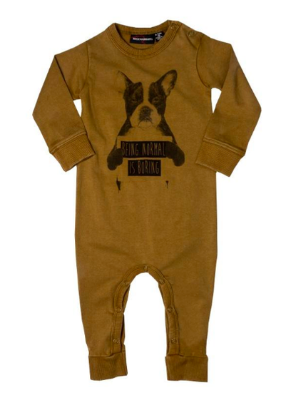 Rock Your Kid Normal is Boring Long Sleeve Romper in Khaki