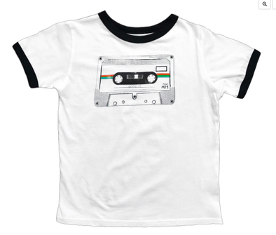 Rowdy Sprout Kids cassette tape  tee white
