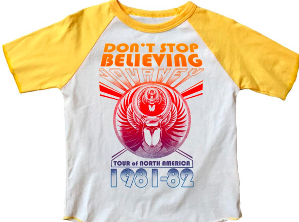 Rowdy Sprout - Journey Don't Stop Believin' Tee in Cream and Marigold