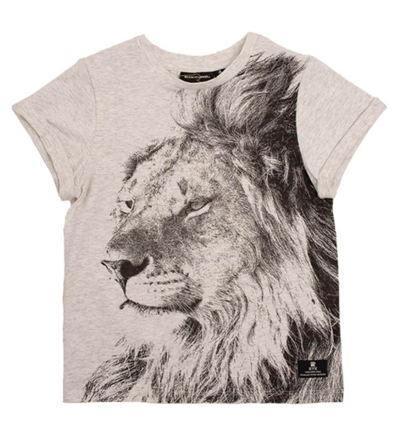 Rock Your Kid Lion Heart Tee Heather Grey