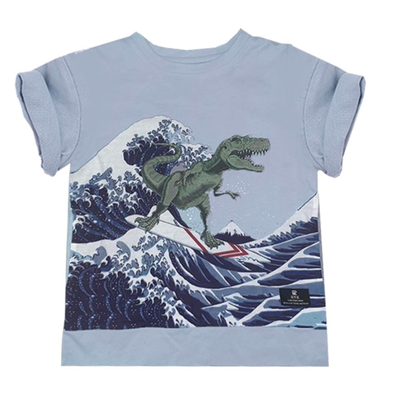 Rock Your Kid - Big Kahuna Dino Tee in Light Blue