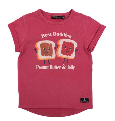 Rock Your Kid - Peanut Butter and Jelly Tee in Washed Red (Size 18-24mo)