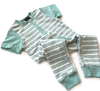 Little Bipsy - Henley Pocket Romper in Grey and Seafoam