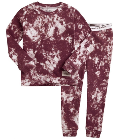 kids burgundy tie dye pajamas