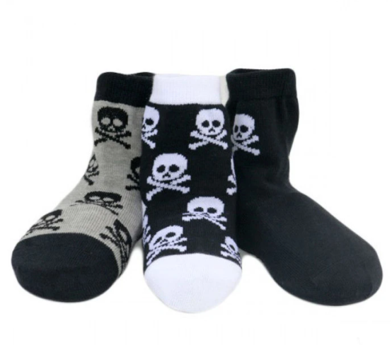 Knuckleheads - Baby and Toddler Skull Socks in Black and White