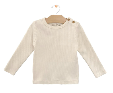 City Mouse - Baby Big Rib Button Tee in Natural
