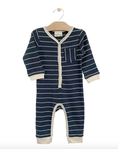 City Mouse - Baby Rib Stripe Romper in Storm Cloud