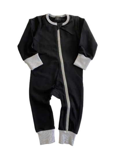 Little Bipsy two way zip romper black grey