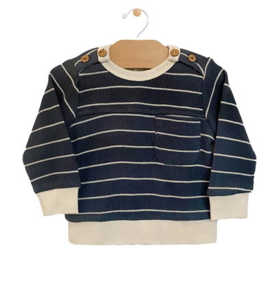 City Mouse - Baby Waffle Stripe Pullover in Storm Cloud
