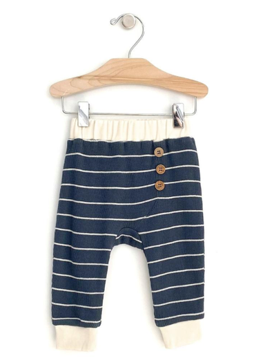 City Mouse - Baby Waffle Stripe Pants in Storm Cloud
