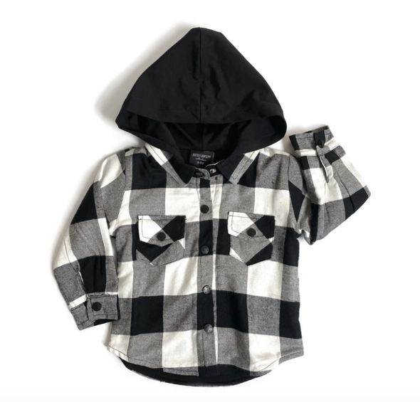 Little Bipsy - Hooded Flannel in Black and White Plaid (Size 5-6)