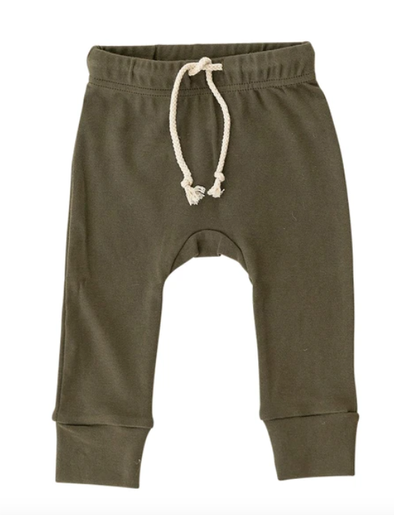 Mebie Baby cotton joggers in olive