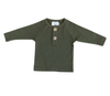 Mebie Baby - Long Sleeve Button Top in Olive (Size 0-3mo)