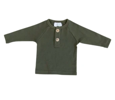 Mebie Baby - Long Sleeve Button Top in Olive
