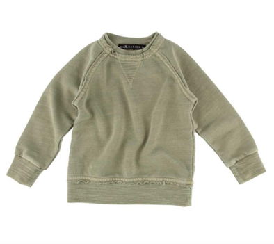 Toddler soft crewneck sweatshirt in military green