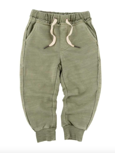 Boys soft joggers in military green