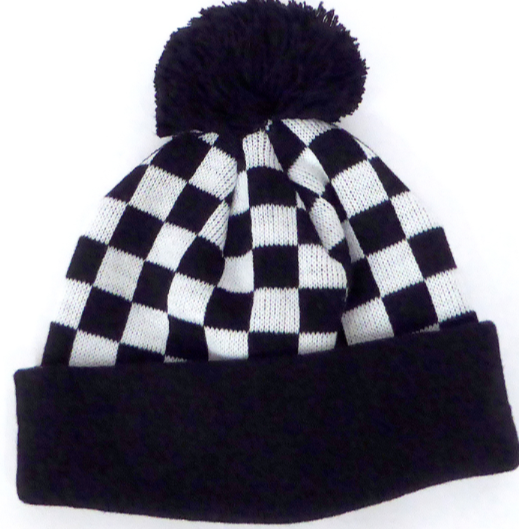 Toddler Knit Pom Beanie in Black/White Checkers