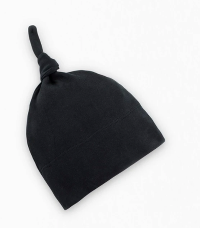 Black infant knot hat