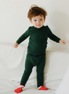 Basic Kids Ribbed Modal Pajamas in Spruce Green (Size 18-24mo)
