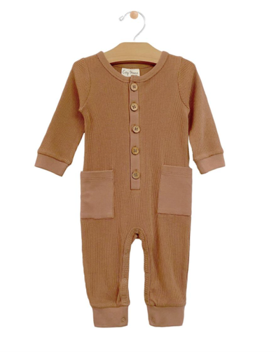 City Mouse waffle pocket romper in hazelnut
