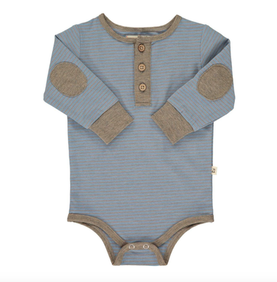 Blue stripe henley onesie for boys