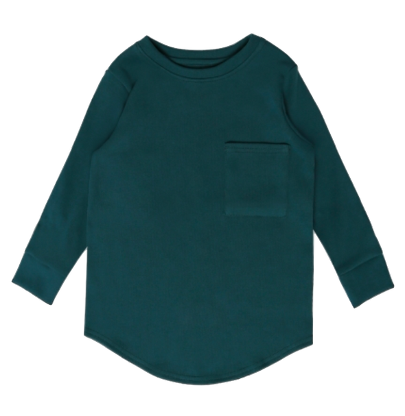 MINIKID - Long Sleeve Pocket Tee in Bottle Green