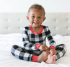 Little Sleepies - Buffalo Plaid Two-Piece Pajamas in Black and White