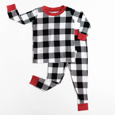 Little Sleepies Black and White buffalo plaid two piece