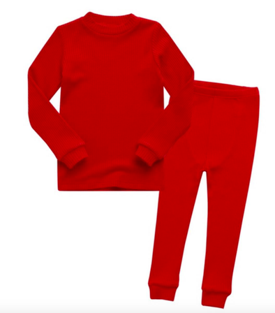 Basic Kids Ribbed Modal Pajamas in Red (Size 2T and 4-5T)