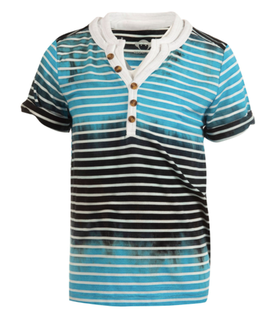 Appaman - Boys Short Sleeve Hilltop Henley in Cyan Stripe