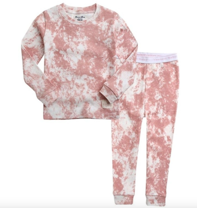 Kids Tie Dye Pajamas in Pink