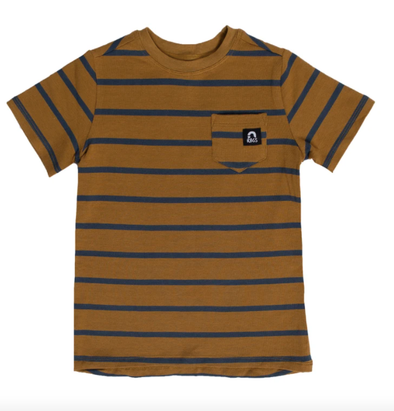 Rags cumin navy stripe pocket tee