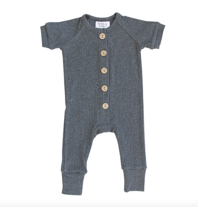Mebie Baby - Ribbed Short Sleeve Cotton Button Romper in Charcoal