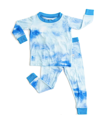 Little Sleepies blue Watercolor pjs