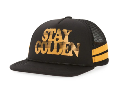 Tiny Whales - Stay Golden Trucker Hat in Black