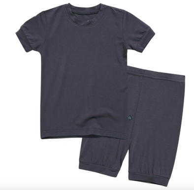 Basic Kids Short-Sleeve Pajamas in Charcoal