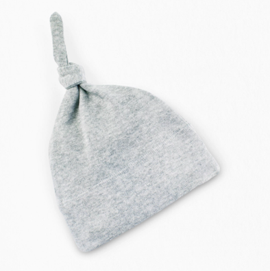 Colored Organics - Newborn Top Knot Hat in Heather Grey