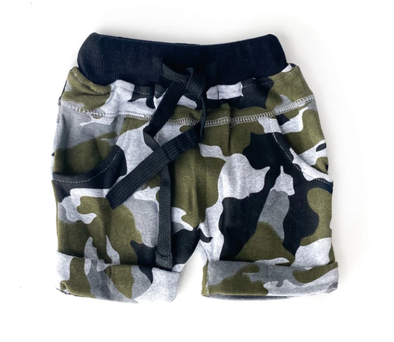 Little BIpsy rolled harem shorts in camo