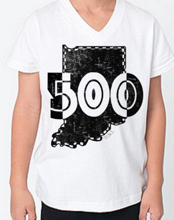 Indy's Month of May 500 V-Neck Tee in White