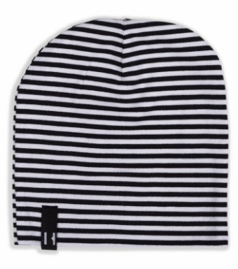 Beau Hudson Newborn Bandit Beanie in Panda Bear (black/white stripe)