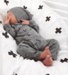 Beau Hudson - Newborn Bandit Beanie in Panda Bear (black/white stripe)