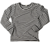 Goat-Milk Toddler Thermal Top in Black and White Stripes