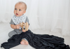 Copper Pearl Stretch-Knit Swaddle Blanket - Black