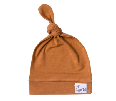 Copper Pearl - Newborn Top Knot Hat in Camel