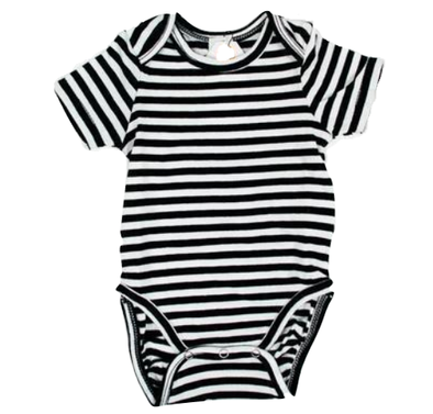 Goat-Milk - Short-Sleeve Onesie in Black and White Stripes (Size 18mo and 24mo)