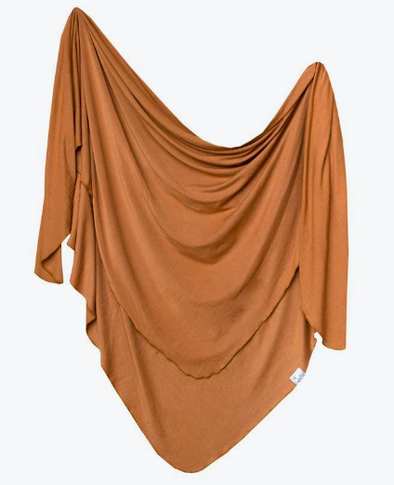 Copper Pearl - Stretch-Knit Swaddle Blanket in Camel