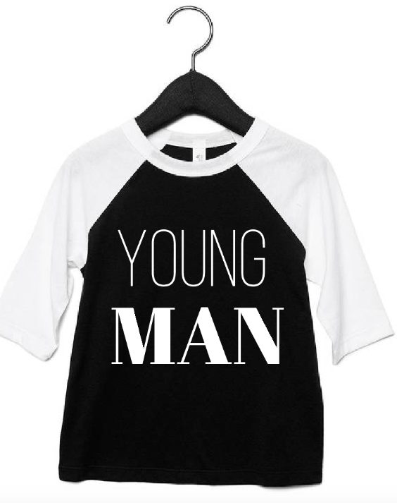 Young Man Raglan and Black and White (Size 3T)